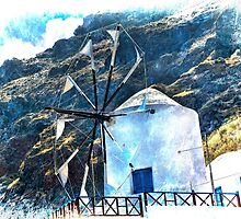 Therasia Windmill on the island of Santorini by BRENDA KEAN