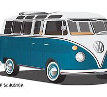 Hippie 21 Window VW Bus Tuerkis by Frank Schuster