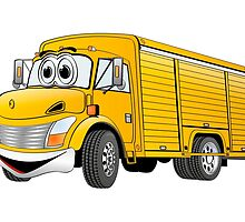 Yellow  Beverage Truck Cartoon by Graphxpro