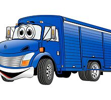 Blue  Beverage Truck Cartoon by Graphxpro