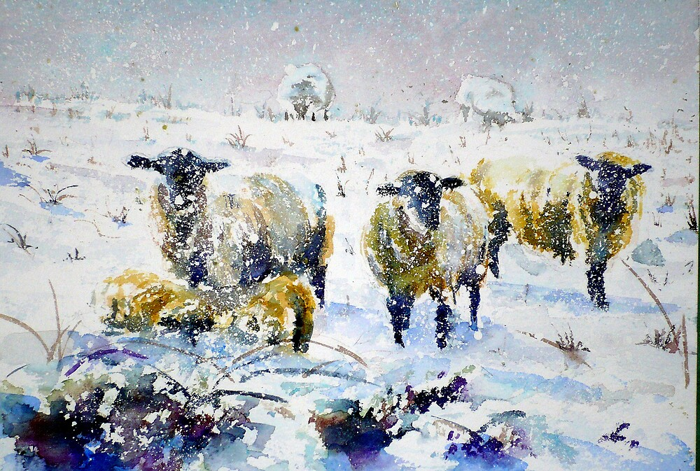 Sheep in a Snowstorm by LorusMaver