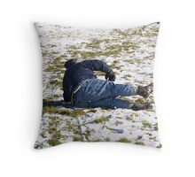 Falling Off a Sledge Throw Pillow
