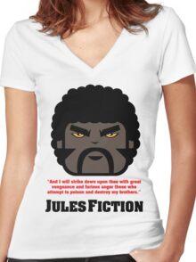 JULES FICTION V1 Women's Fitted V-Neck T-Shirt