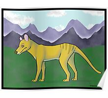 Thylacine and Mountains Poster