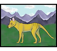 Thylacine and Mountains Photographic Print