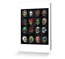 Horror Movie Monster Masks (color) Greeting Card
