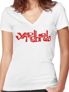 Yardbirds Eric Clapton Jimmy Page Jeff Beck Funny Geek Nerd Women's Fitted V-Neck T-Shirt