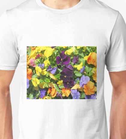 colorful spring pansies Unisex T-Shirt