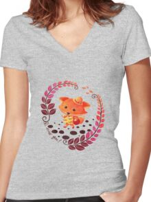 Hello, Miss Fox! Women's Fitted V-Neck T-Shirt