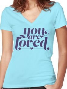 You Are Loved Funny Geek Nerd Women's Fitted V-Neck T-Shirt