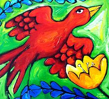 LOVEBIRD  SWOOPS by ART PRINTS ONLINE         by artist SARA  CATENA