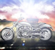 Motorcycle Sunset by JayBakkerArt