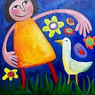 MONA ( lisa ) AND THE LOVEBIRD DANCING IN THE FLOWERBED by ART PRINTS ONLINE         by artist SARA  CATENA