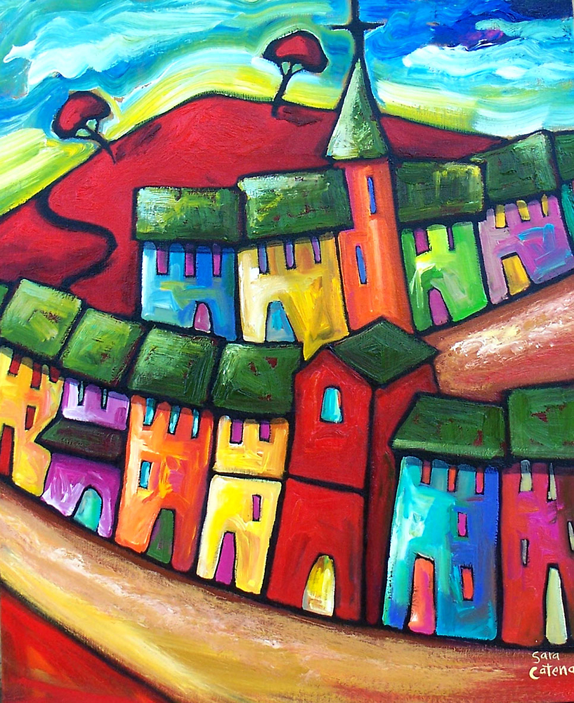 PLAYFUL WIND ON THE HILL by ART PRINTS ONLINE         by artist SARA  CATENA