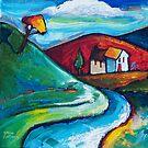 SLOW ROAD TO WHIRINAKI ( NEW  ZEALAND ) by ART PRINTS ONLINE         by artist SARA  CATENA