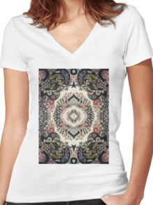 Fractal Typography Women's Fitted V-Neck T-Shirt