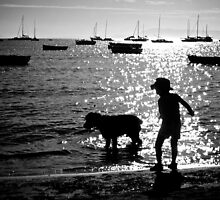 Spud, Senae, Sand, Sun, Sea silhouette 2 by Keith Stead