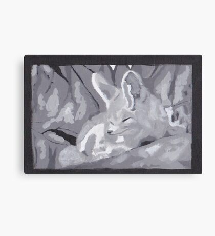Grey Scale Fennec Fox Canvas Print