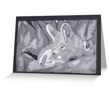 Grey Scale Fennec Fox Greeting Card