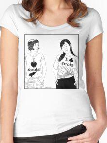 Cartoon:  I love seals ! Women's Fitted Scoop T-Shirt