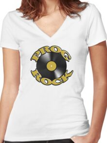 Prog Rock Record Women's Fitted V-Neck T-Shirt