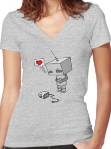 The Lonliest Automaton Women's Fitted V-Neck T-Shirt