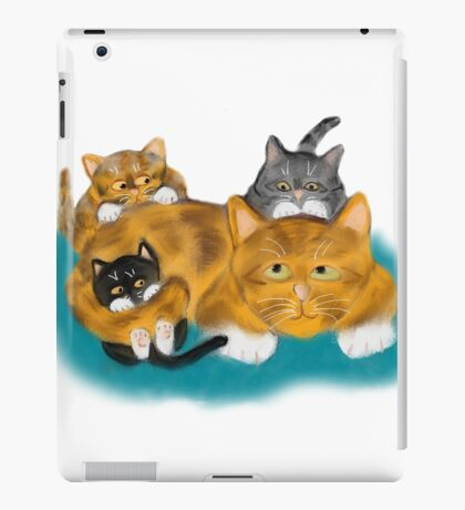 Three Kittens Pile on Momma iPad Case/Skin