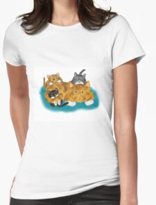 Three Kittens Pile on Momma Womens Fitted T-Shirt