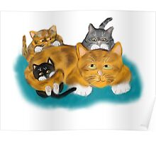 Three Kittens Pile on Momma Poster