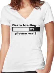 Brain loading plese wait Funny Geek Nerd Women's Fitted V-Neck T-Shirt