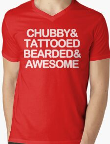 Chubby and tattooed bearded and awesome Funny Geek Nerd Mens V-Neck T-Shirt