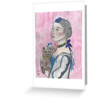 Madame Avec Une Chat. Greeting Card