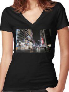 Ginza Streetscape, Chūō, Tokyo Women's Fitted V-Neck T-Shirt