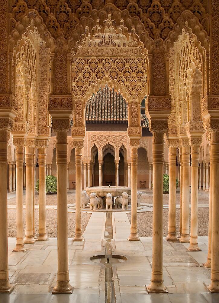 Plaza de Leones Alhambra Palace Granada Spain by Les Meehan