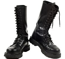 Pair of black leather bovver boots by Arletta Cwalina