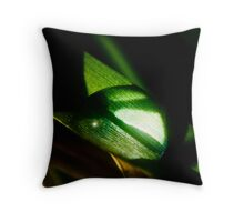 large water droplet on grass Throw Pillow