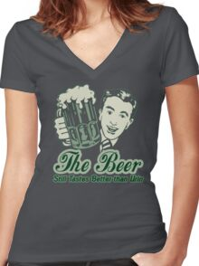 Give a Man a Beer v2 Women's Fitted V-Neck T-Shirt