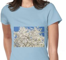 white flowers of Cerasus Womens Fitted T-Shirt