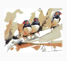 Zebra Finches on a branch Kids Tee