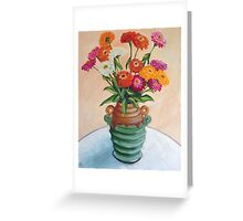 Zinnias in an Art Deco vase Greeting Card