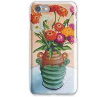 Zinnias in an Art Deco vase iPhone Case/Skin