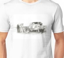 Travel and adventure with a historic car. Unisex T-Shirt