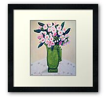 Pink Gum Blossoms in an Art Deco Jug Framed Print