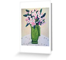Pink Gum Blossoms in an Art Deco Jug Greeting Card