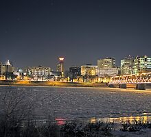 Harrisburg Skyline at Night in Winter by Russell Fry