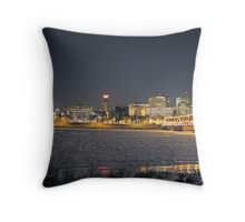 Harrisburg Skyline at Night in Winter Throw Pillow
