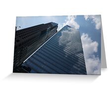Sky and Sky - Toronto Skyscraper Reflecting Fluffy White Clouds Greeting Card