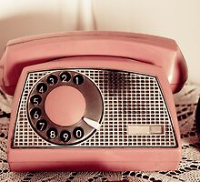 Retro rotary dial phone sepia toned by Arletta Cwalina