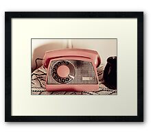 Retro rotary dial phone sepia toned Framed Print