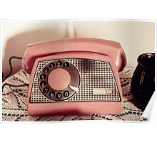 Retro rotary dial phone sepia toned Poster